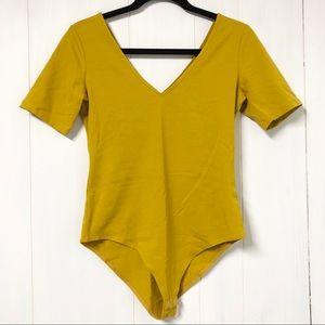 NWT Forever 21 Short Sleeve V-NeckMustard Bodysuit